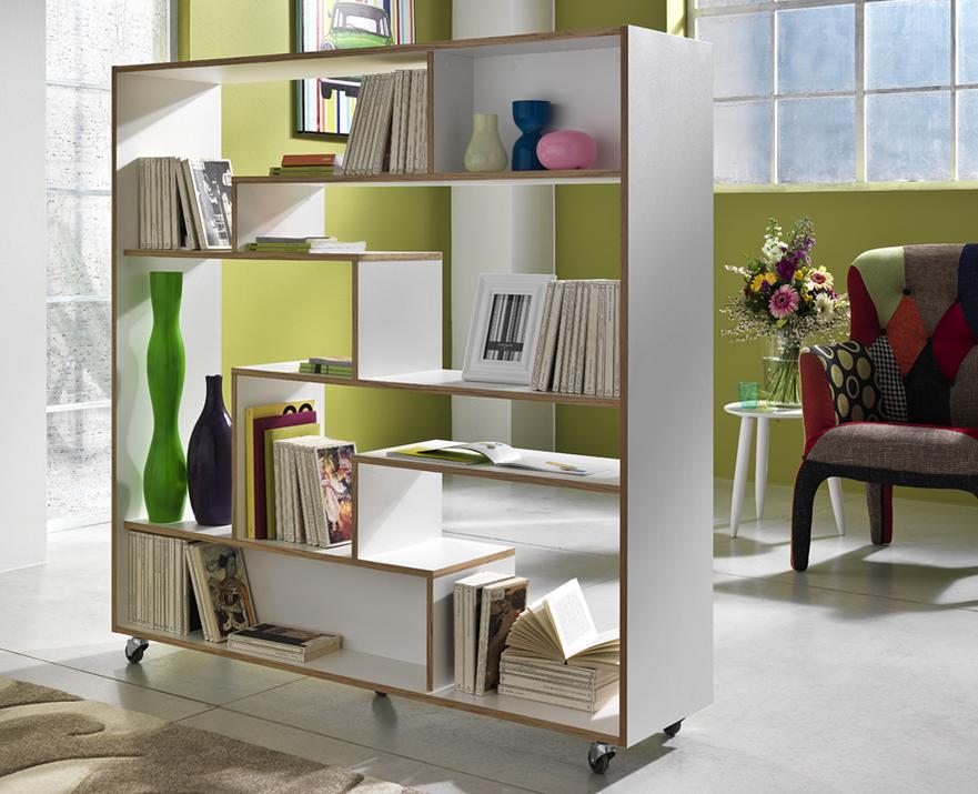 Libreria Bifacciale Separa Ambienti con Rotelle