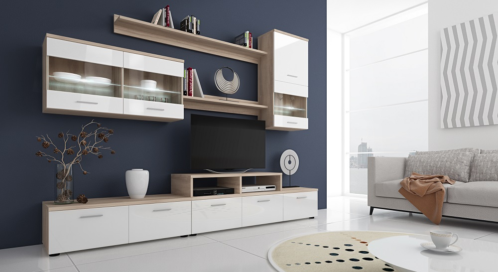 Parete soggiorno attrezzata economica moderna porta tv e vetrine
