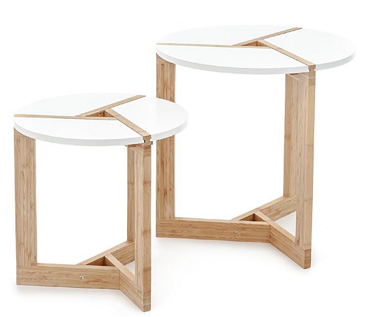 Set 2 tavolini da Salotto in Legno Rotondi