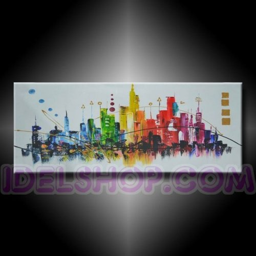 1 Quadro Moderno Dipinto a Mano New York Color