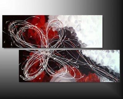 2 quadri arte moderna fiore toni rosso e bianco for Quadri arte moderna
