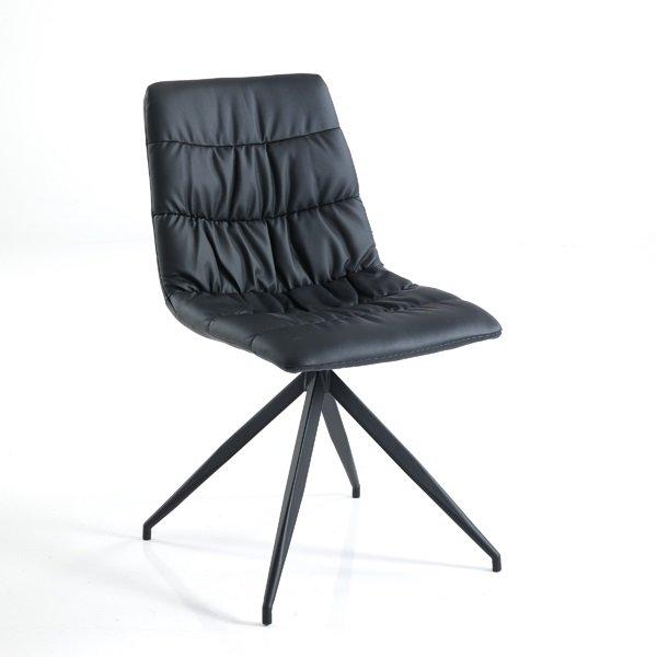 2 Sedie Moderne Zampe a Spillo Imbottite Nere