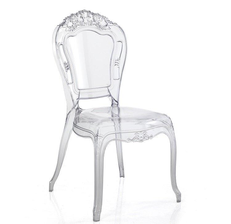 2 sedie stile classico rivisitato trasparenti for Sedie moderne trasparenti