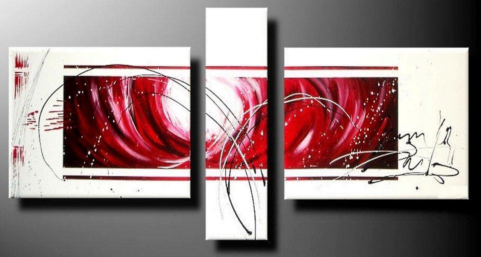 3 quadri arte moderna dipinti a mano rosso bianco