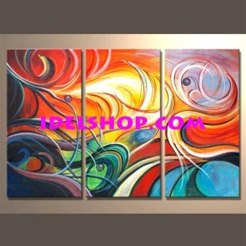 3 quadri moderni dipinti a mano astratti onde for Quadri moderni astratti dipinti a mano
