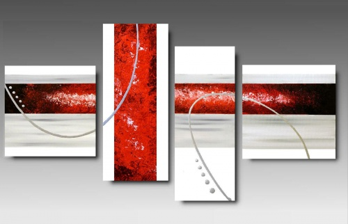 4 quadri astratti dipinti a mano rosso fuoco for Quadri moderni astratti su tela