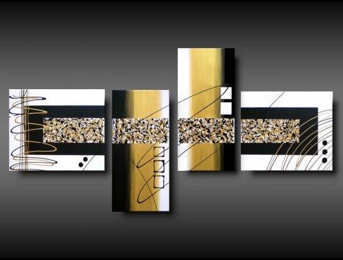 4 quadri arte moderna astratto toni bianco e oro for Quadri arte moderna