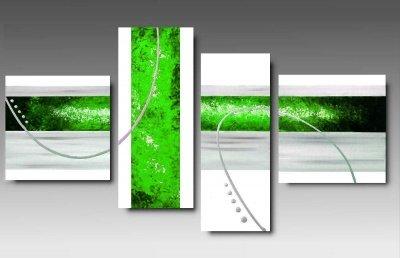 4 quadri astratti dipinti a mano rosso fuoco - Tappeti moderni verde acido ...