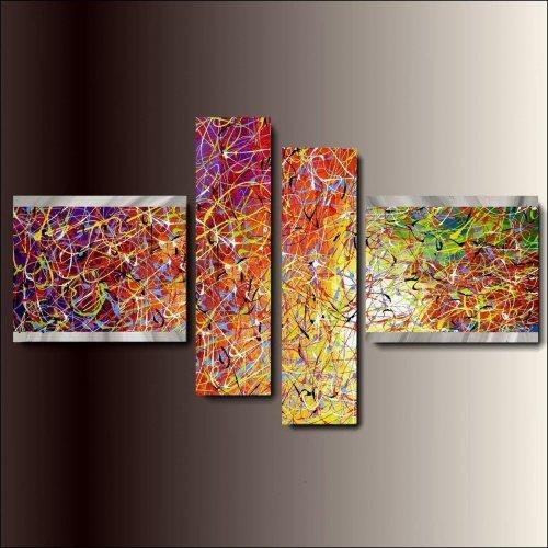 4 quadri astratti dipinti a mano coloratissimi for Quadri moderni astratti dipinti a mano