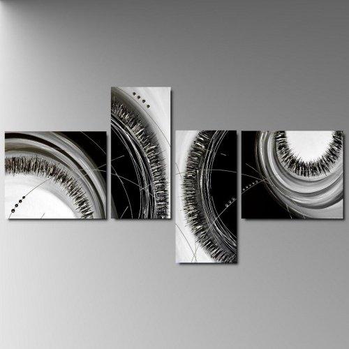 4 quadri astratti dipinti a mano in bianco e nero for Quadri astratti dipinti a mano