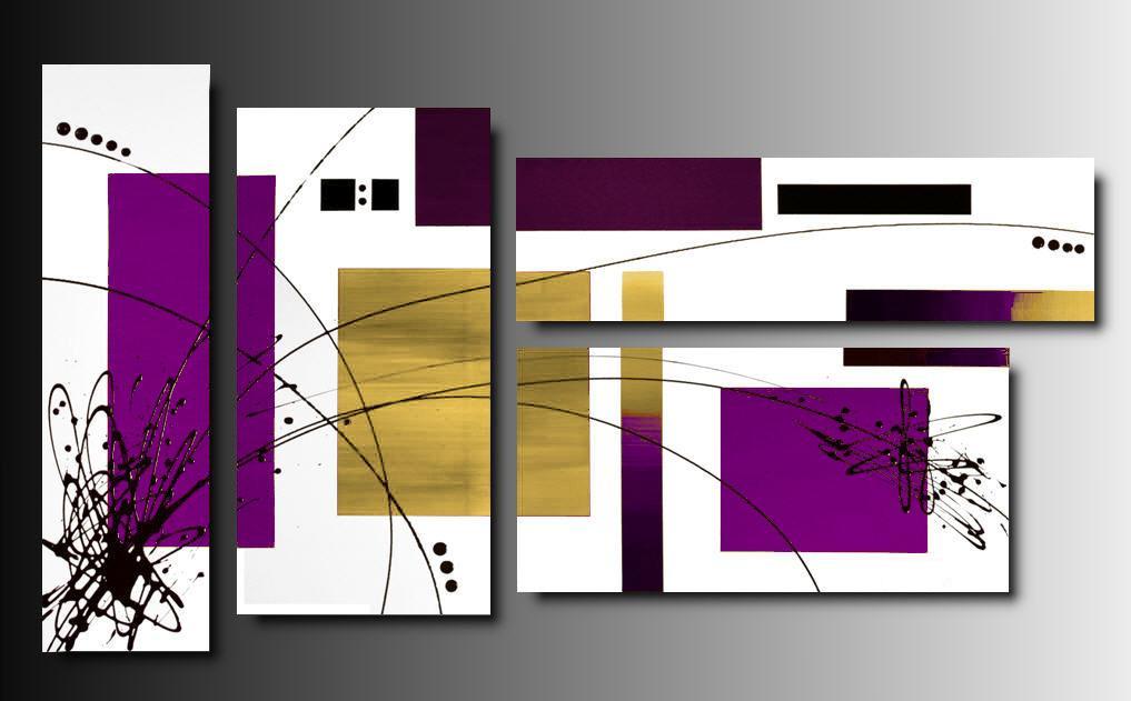 4 quadri astratti tetris oro porpora e bianco