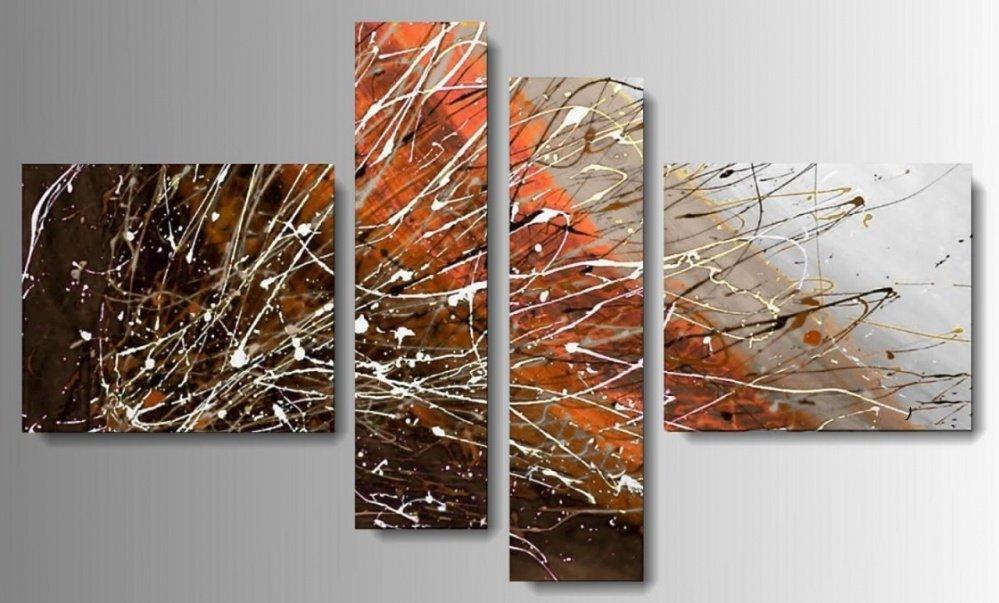 4 quadri astratti dipinti a mano coloratissimi