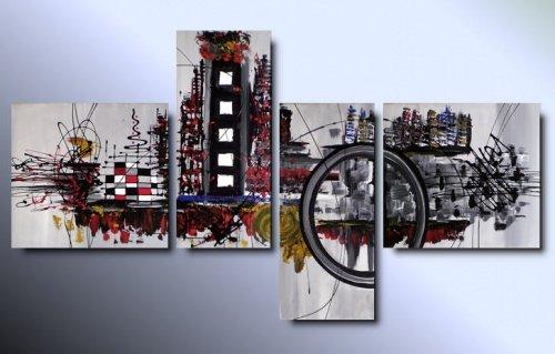 4 quadri moderni astratti citt colorati for Quadri moderni colorati