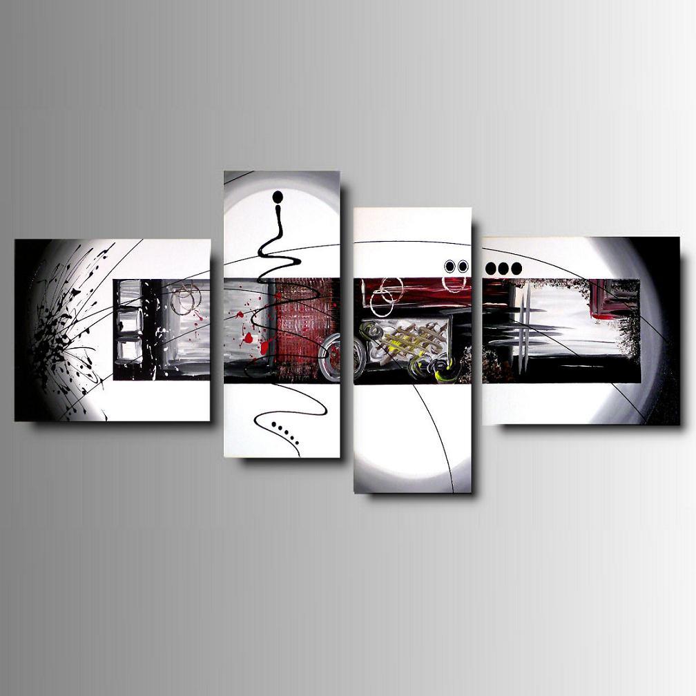 4 quadri moderni astratti colorati dipinti a mano ebay for Quadri d arredo moderni