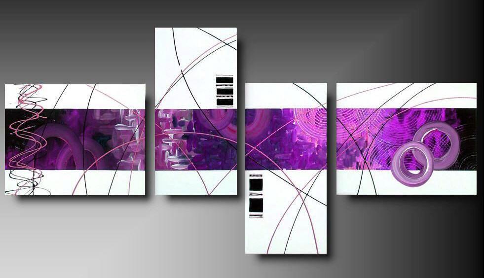 4 quadri moderni astratti toni del rosa