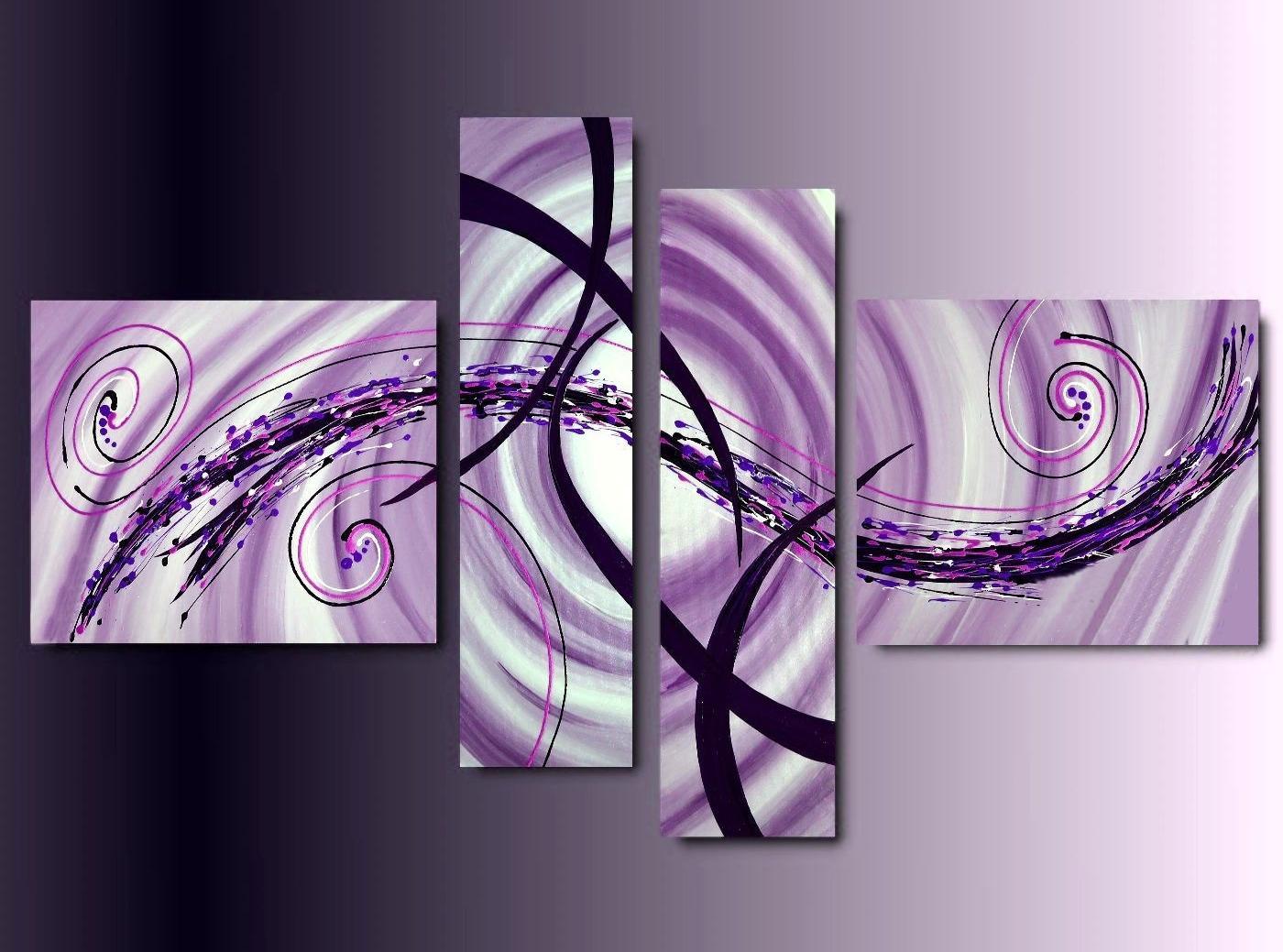 4 Quadri Moderni Astratti toni del Rosa Sfumato