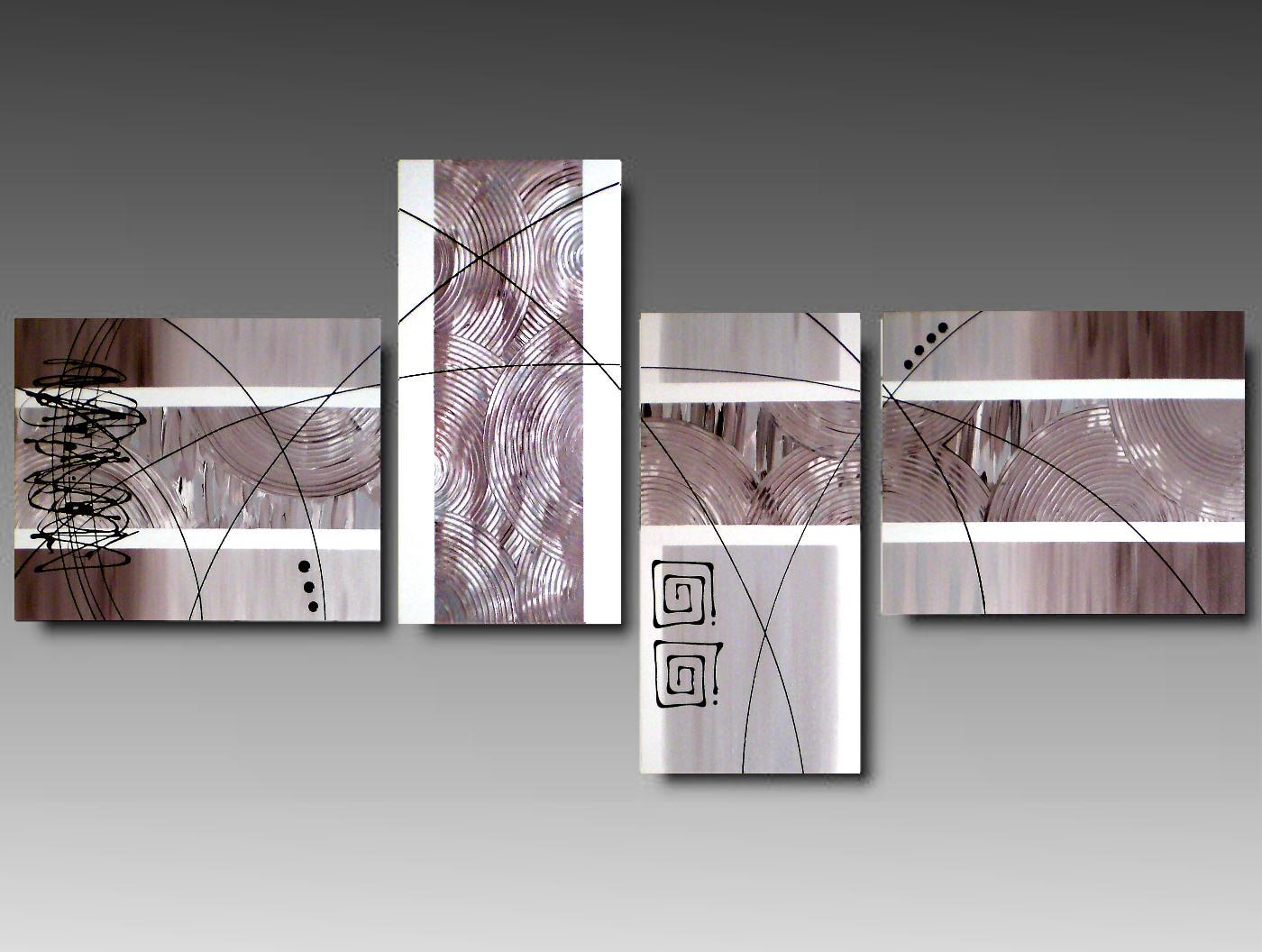 4 Quadri Moderni Astratto Color Terra