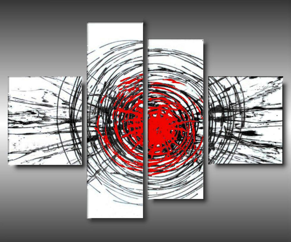 4 Quadri Moderni Esplosione Toni Bianco e Rosso