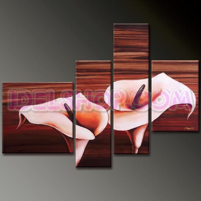 4 Quadri Moderni Fiori Calle Colore Rosa e Sabbia