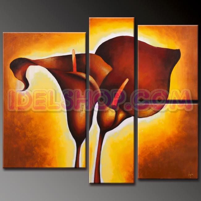 4 Quadri Moderni Fiori Calle color Caramello