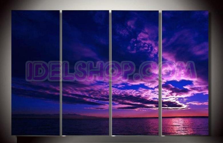Quadri moderni lineari nubi toni lilla e viola