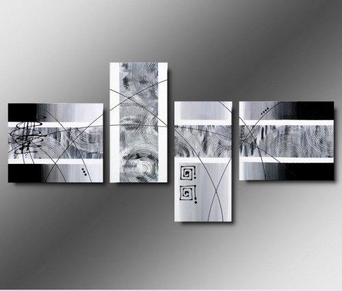 4 quadri astratti dipinti a mano in bianco e nero for Quadri moderni salotto