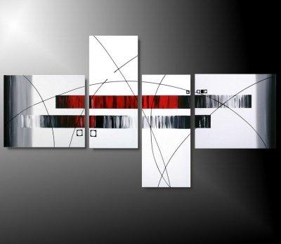 4 quadri moderni toni del rosso grigio e bianco for Quadri d arredo moderni