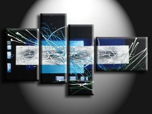 4 quadri moderni dipinti a mano azzurro e nero for Quadri arte moderna