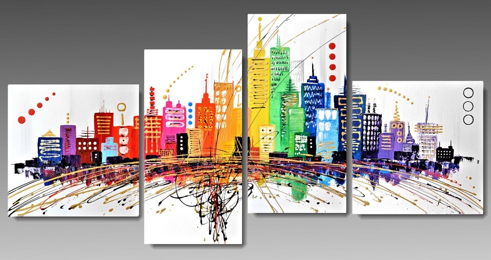 4 Quadri tele Moderne Metropoli Multicolor