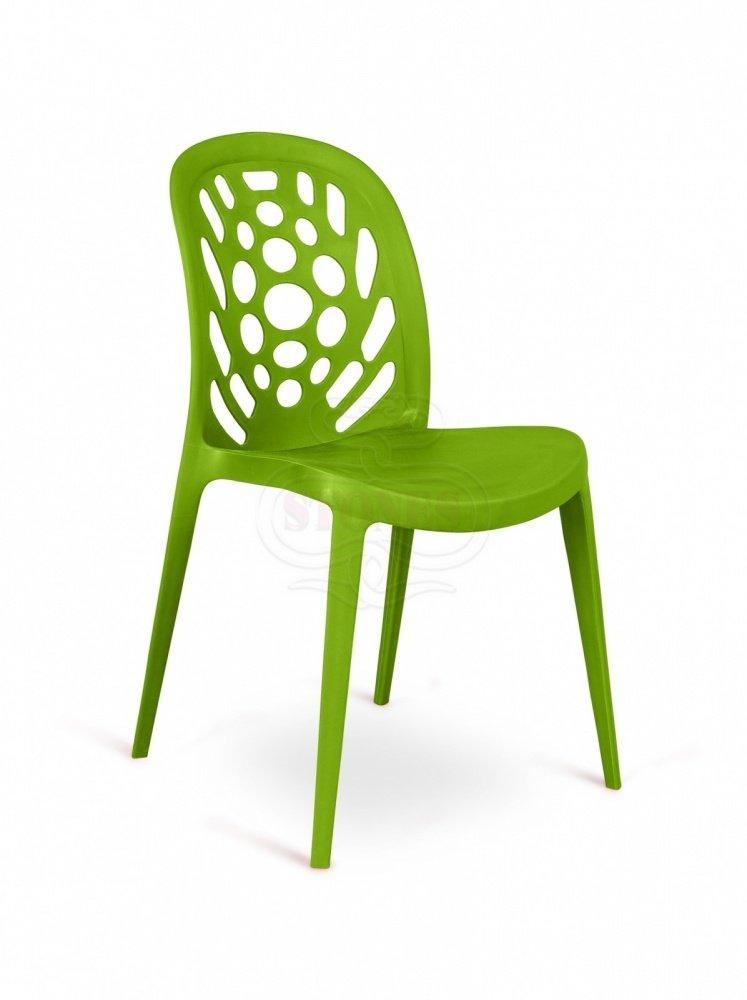 4 sedie moderne lavorate in polipropilene verde