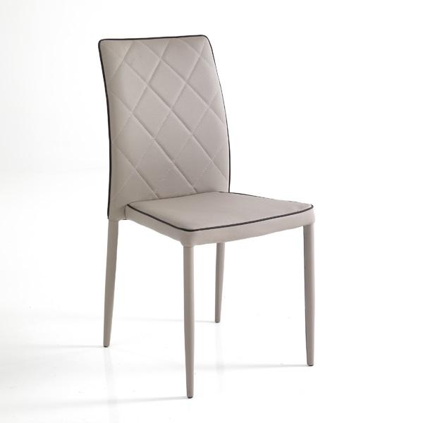 Sedie Moderne Pelle E Acciaio.4 Sedie Moderne Rivestite In Pelle Sintetica Tortora E Moka