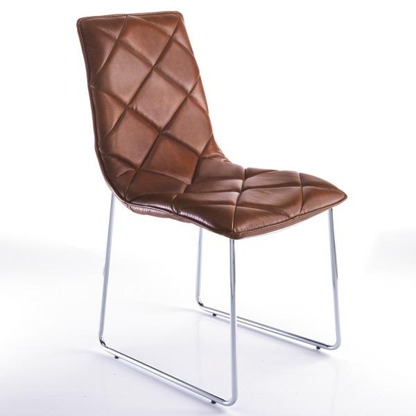 4 Sedie Moderne in Pelle Sintetica Effetto Cuoio