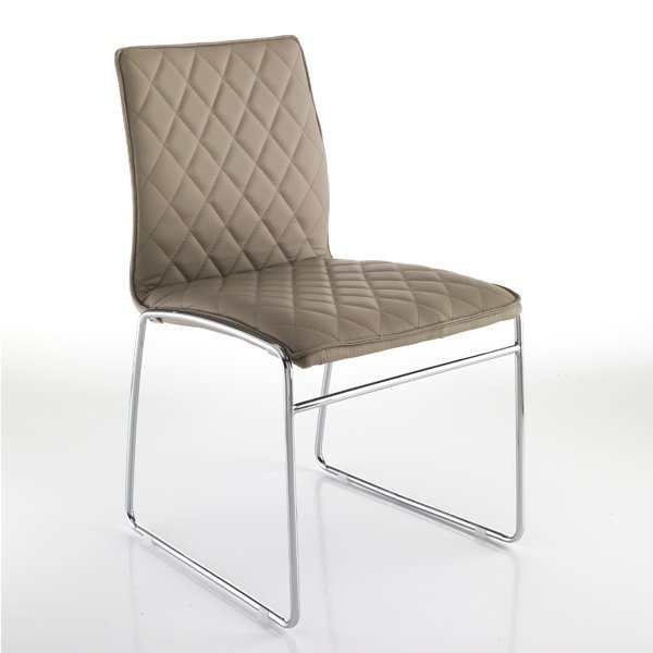Poltrone Moderne In Pelle.4 Sedie Moderne In Pelle Sintetica Tortora Trapuntata