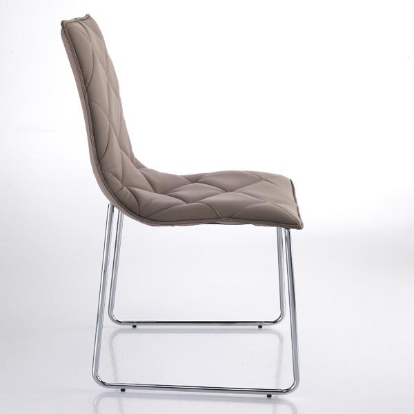 4 Sedie Moderne in Pelle Sintetica Tortora