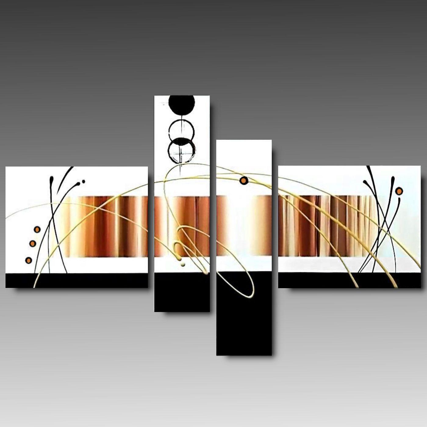 Tele Dipinte Moderne.4 Tele Moderne Mirino Dipinte A Mano Varie Misure