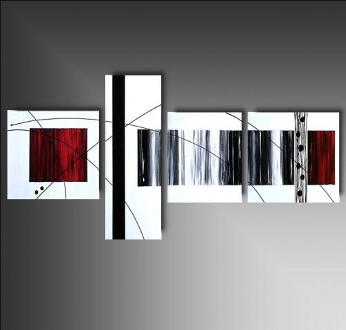 4 quadri astratti dipinti a mano in bianco e nero for Tele astratte dipinte a mano