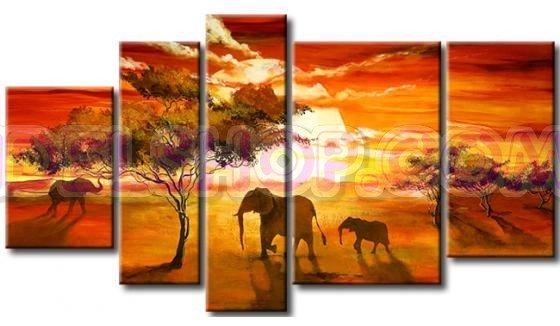 5 Quadri Moderni Etnici Animali e Savana