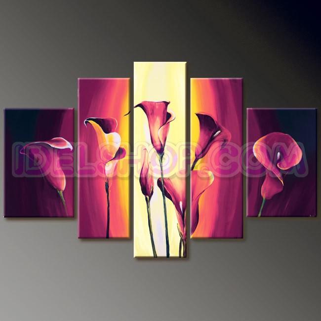 5 Quadri Moderni Fiori Calle Color Rosa e Giallo