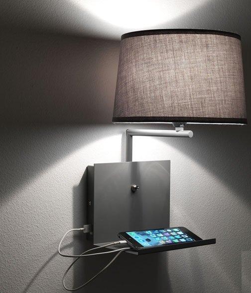 Applique Lampada da Muro con Ricarica Usb per Smartphone e Tablet