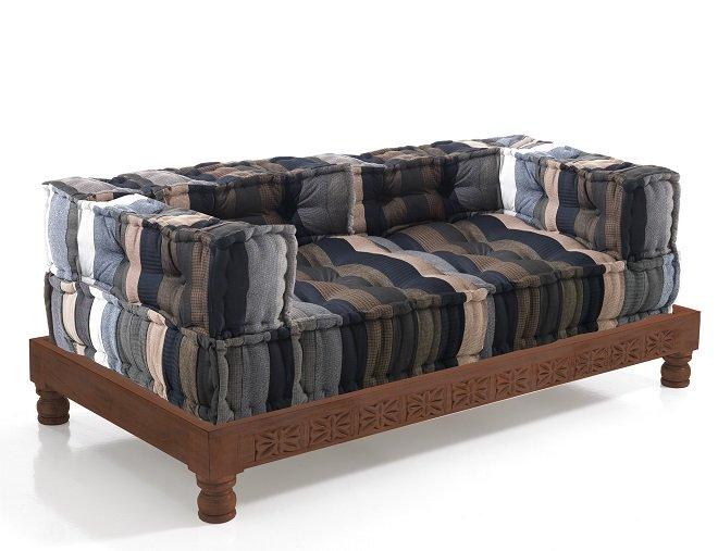 Basamento Struttura per Divano o Chaise Lounge in Legno Massello Scuro