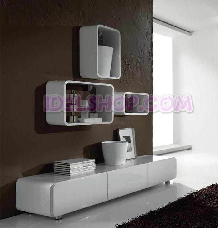 Base porta tv parete attrezzata laccato bianco ebay for Parete tv attrezzata