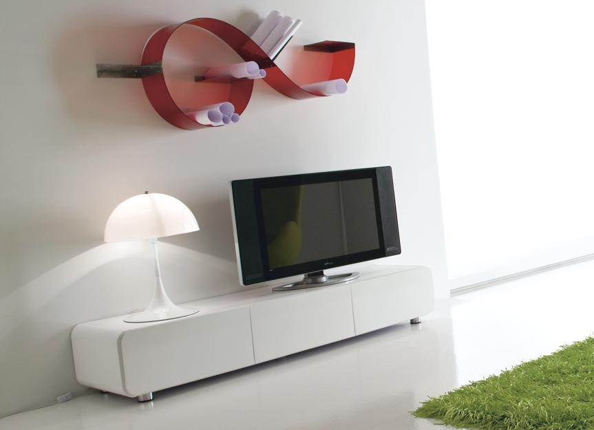 Base Porta Tv parete attrezzata laccato bianco