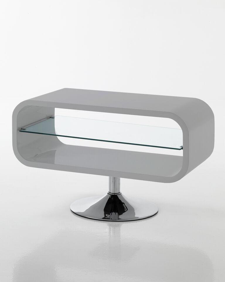 Base porta Tv Moderna con Piano in Vetro Colore Grigio