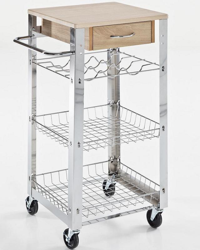 Simple carrello da cucina con ripiani e cassetto in legno - Cassettiere per cucina ...