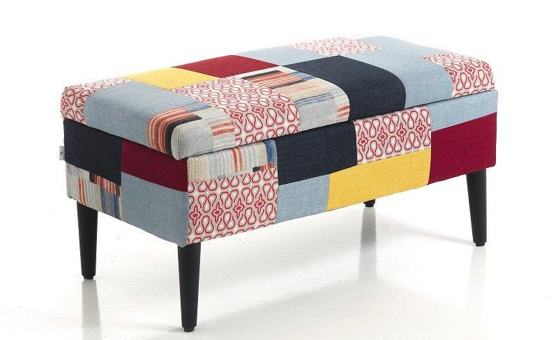 Cassapanca contenitore patchwork colorata moderna