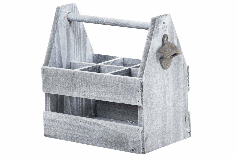 Portabottiglie In Legno Bianco.Cassetta Portabottiglie Legno Grigio Idea Regalo Con Cavatappi