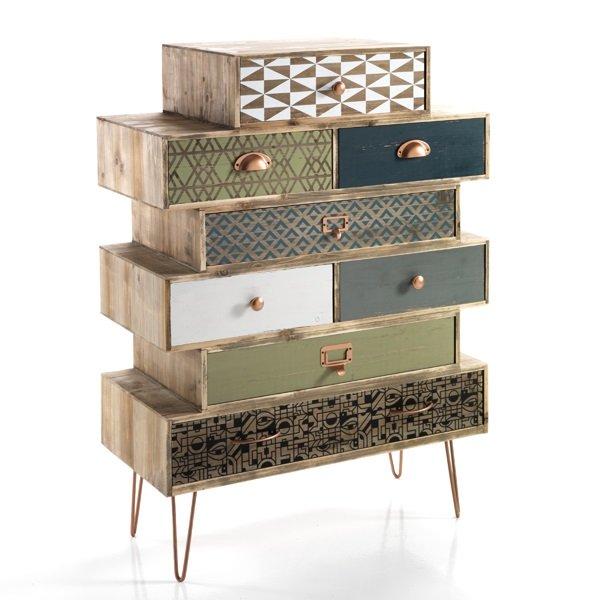 Cassettiera vintage 8 cassetti colorati in legno massello for Meuble ottimo