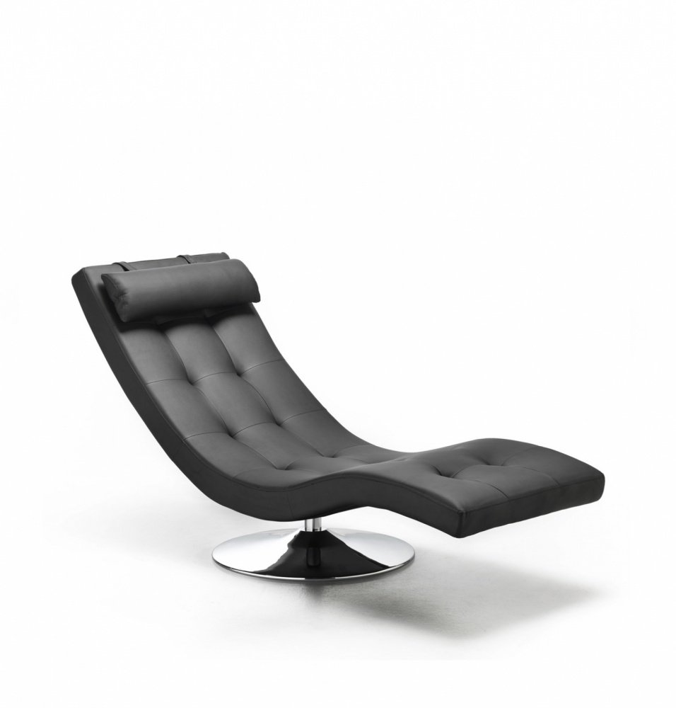 Chaise Longue Dormeuse in Similpelle colore Nero