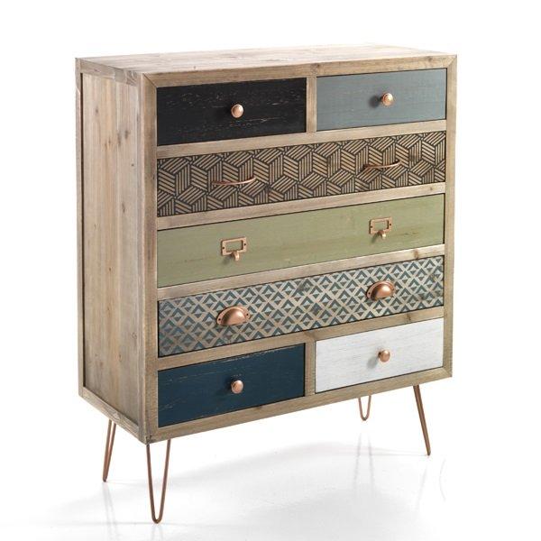Comodino vintage 2 cassetti in legno massello for Mobili vintage colorati