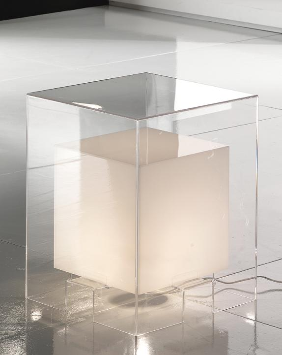 Comodino tavolino luminoso bianco e trasparente - Tavolino comodino ...